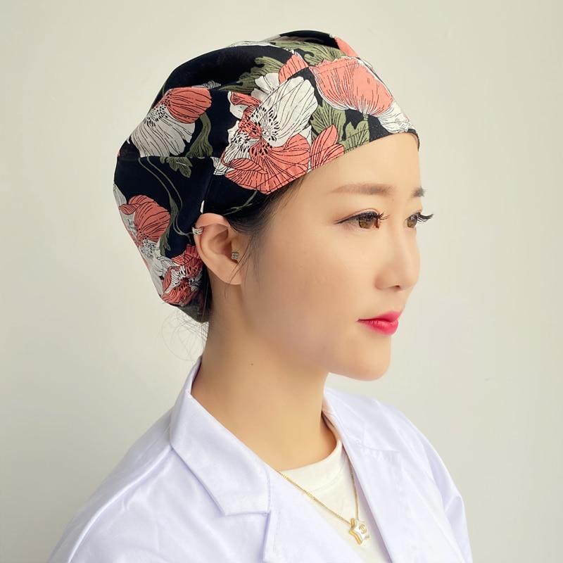 Pure Cotton Kitchen Hat Female Household Cooking Belt Anti-smoke Restaurant Anti-hair Loss Hygiene Nurse Work Chef Hat