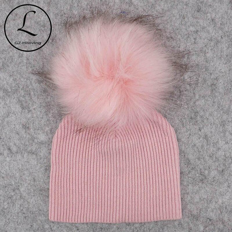 GZHilovingL мягкая зимняя шапка для новорожденных мальчиков и девочек с помпоном из искусственного меха, шерстяная вязаная шапка для девочек, 2018