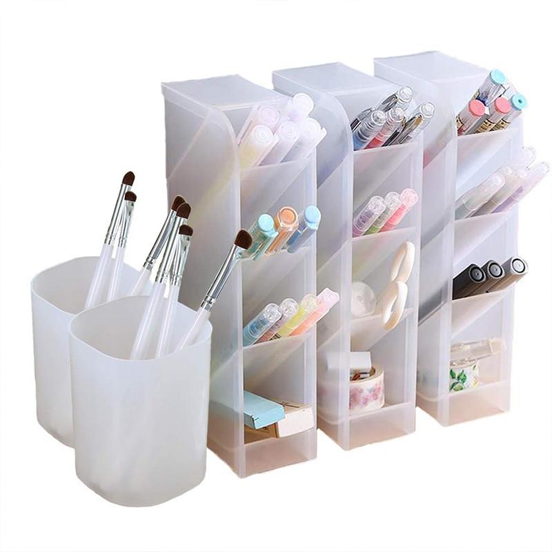 5 Pcs Desk Organizer- Pen Organizer Storage for Office, School, Home Supplies, Translucent White Pen Storage Holder, Set Of 3, 2