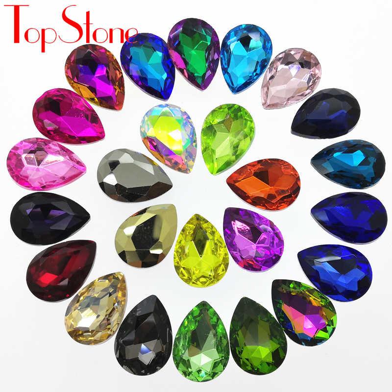 TopStone все размеры Цвета стеклянный кристалл в форме слезы роскошным камнем, остроконечные 7x10mm ~ 20x30 мм в форме капель бусины для изготовления ювелирных изделий