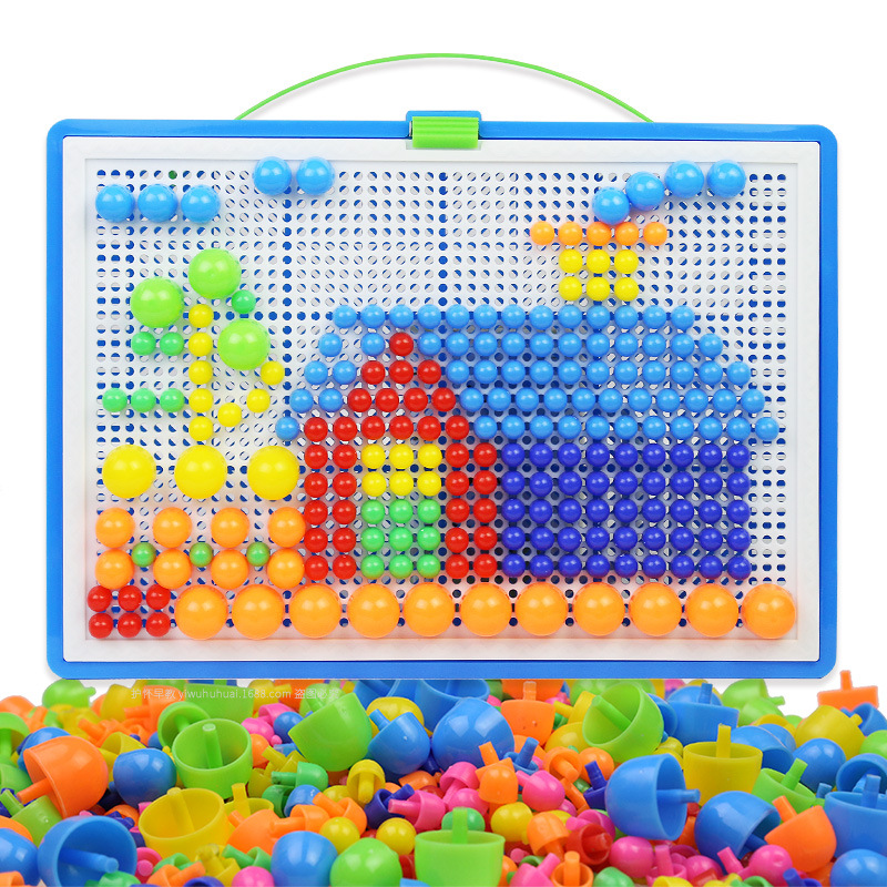 296PCS Mushroom Nail DIY Handmade Toys Children's Educational Toyschildren's Intelligent 3D Puzzle Game Jigsaw Board  Gifts