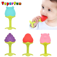 Baby Teether Safety Silicone Fruit Cartoon Teethers Infant Kids Chew Tooth Toys Dental Care Strengthening Training