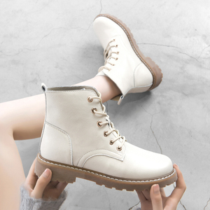 Fashion Ankle boots women 2020 Winter Boots Women Lace Up Ankle Boots Soft Split Leather Female Motorcycle Boots Black 942762