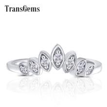 Transgems 10 18k ホワイトゴールドセンターマーキーズ形状ラウンド F 無色モアッサナイトクラウン婚約指輪結婚指輪