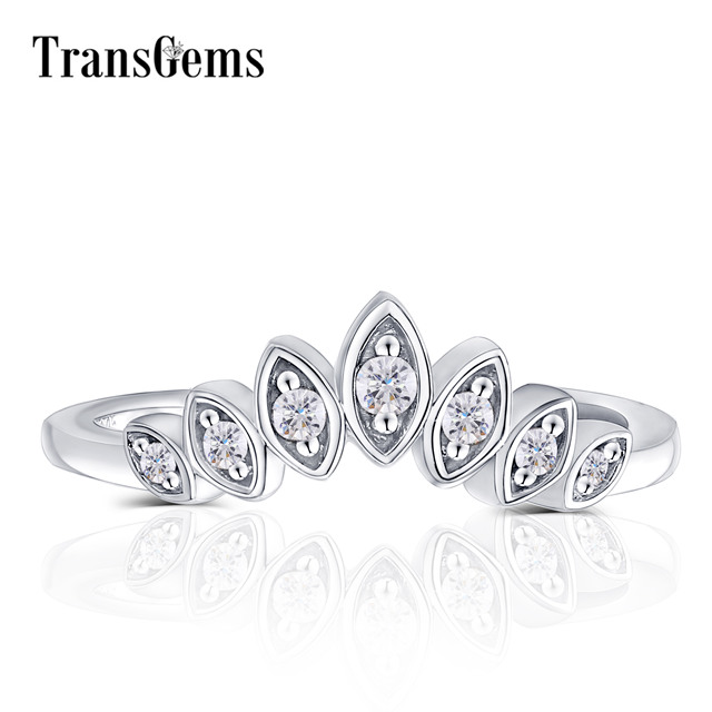 Transgems 10K White Gold Center Marquise Shape Round F Colorless Moissanite Crown Engagement Ring Wedding Band
