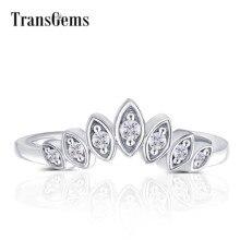 Transgems anillo de compromiso de oro blanco de 10K con forma de marquesa, redondo, sin color, moissanita, para boda