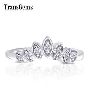 Image 1 - Transmems 10 к белое золото центр Маркиза Форма круглый F бесцветный Муассанит Корона Обручальное кольцо обручальное