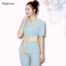 Summer blue short sleeve Beauty Uniform women Work clothing hotel Waiter work cl