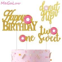 Um dois anos de idade feliz aniversário glitter ouro rosquinha crescer bolo topper doce massa massa cupcake topper festa do chuveiro do bebê suprimentos
