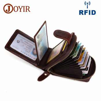 JOYIR Credit Card Id Holders Wallet Genuine Leather Men Business Cards RFID Wallet High Capacity Credit Holder Purse Porte Carte - DISCOUNT ITEM  53% OFF All Category