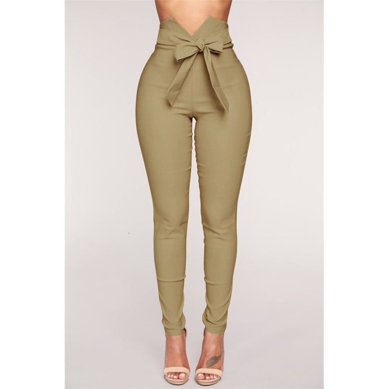 Sexy Bow Self-cultivation Elasticity Pants Belt High Waist Pencil Pant Women Long Trousers Casual Exclusive Design Fashion