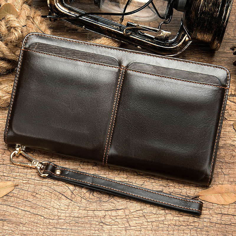 WESTAL Clutch Male Genuine Leather Men's Wallet Long Men's Clutch Bag Purse For Men Credit Card Holder Men's Zip Money Bags 9020