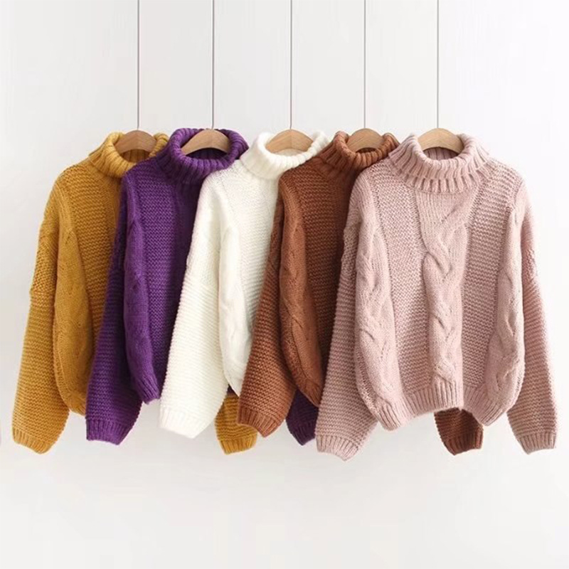 2019 Autumn Winter Women's Pink Turtleneck Sweater Basic Female Pullover Solid  Casual Knitted Ribbed Sweater