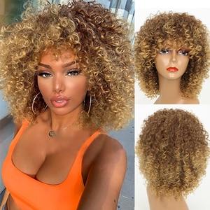 Парик блонд кудрявый парик блонд афро кудрявые парики синтетический парик для модных женщин (Цвет: блонд)
