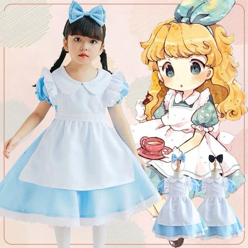 Classic Cute British Lolita Maid Cosplay Outfit Uniform Apron For Kids Girls Halloween Costume Dress Kawaii Girl Japanese Style