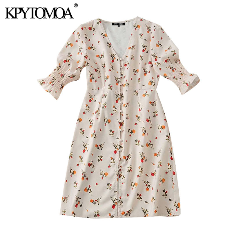 KPYTOMOA Women 2020 Chic Fashion Floral Print Buttoned Mini Dress Vintage V Neck Short Sleeve Female Dresses Vestidos Mujer
