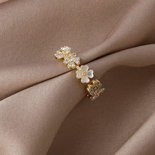 2021 South Korea New Exquisite Shell Flower Ring Temperament Sweet Simple Opening Ring Women's Jewelry