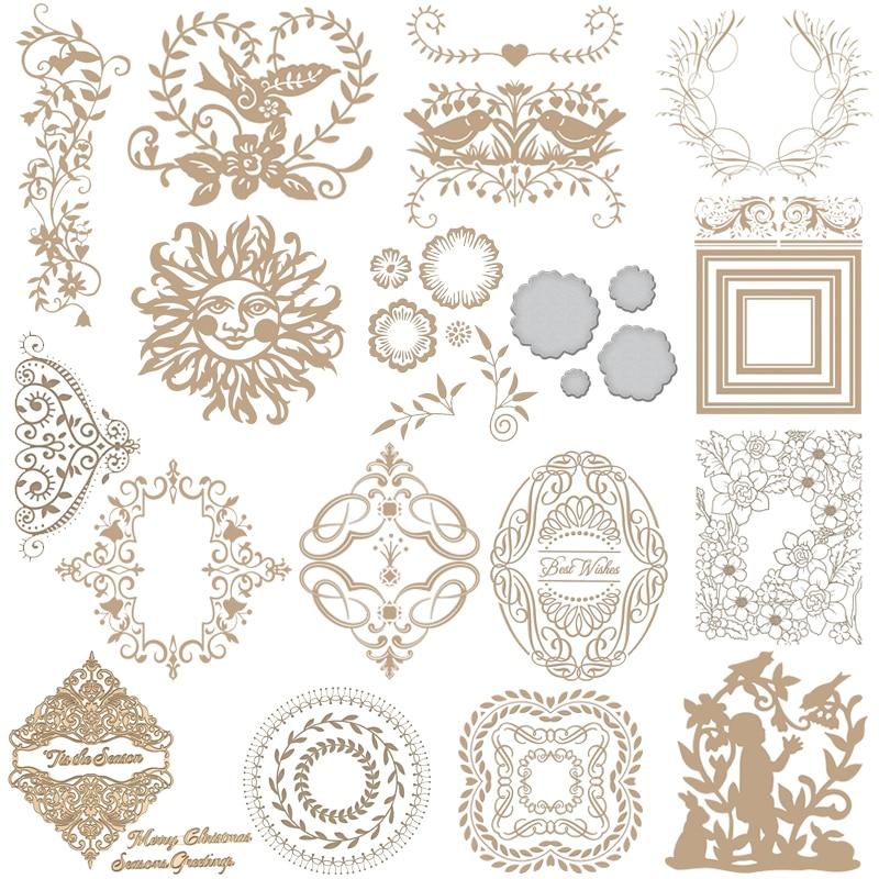 Flower Frame Wreath Leaves Hot Foil Plate Metal Cutting Dies Stencils For DIY Scrapbooking Album Decor Embossing Crafts Die