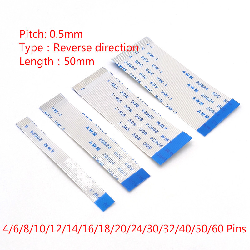 10Pcs 0.5mm FPC FFC Flexible Flat Cable B Type Reverse Direction 50mm 4P 6/8/10/12/14/16/18/20/22/26/28/30/32/34/40/50/60PIN