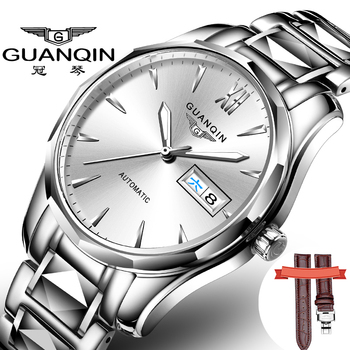 GUANQIN Automatic Mechanical Men Watch Tungsten Steel Luminous Watches Date Calendar Japanese Movement Watch with Leather Strap mechanical mingzhu 2813 automatic movement date display watch movement bm13a