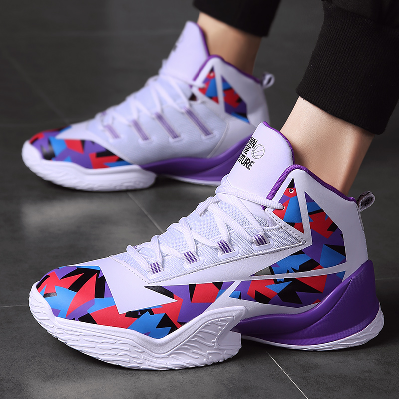 Man High-top Basketball Shoes Men's Air Cushion Light Basketball Sneakers Anti-skid Breathable Outdoor Sports Basketball Shoes