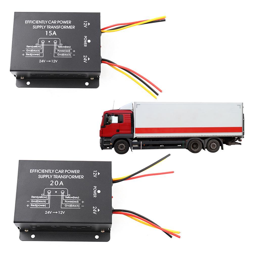 Voltage Converter 15A/30A Output High To Low Inverter 24V To 12V Converter Car Truck Power Supply Step-Down Transformer Inverter