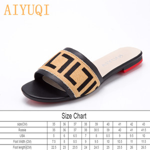 Image 2 - AIYUQI Women Slippers 2020 New summer Genuine Leather Flat Women slides  Mohair Casual Outdoor Slippers Women shoes