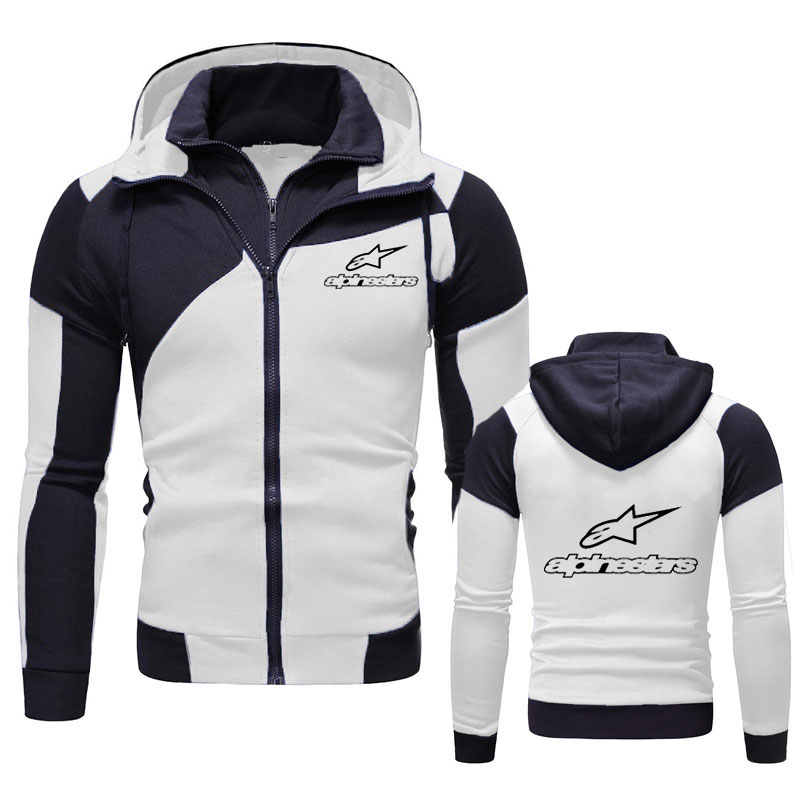 Alpinestar New Fall Winter Double color stitching Coat Mens Sweatshirts Hoody Slim Fit Hoodies Men Sportswear Zipper Sweatshirts