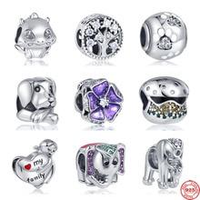 925 Sterling Silber elefanten ich liebe meine blume hund pfote Perlen Charme Original-fit Pandora Armreifen & Armreifen Frauen Mode schmuck