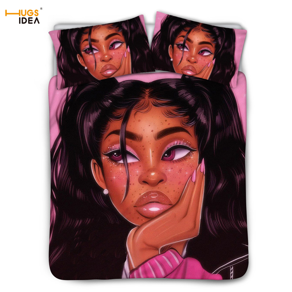 3Pcs Shiny Black Art Africa Bed Bed Linens Set American/African Afro Lady Girl Printing Student Duvet Cover Bedroom Decor Sheet