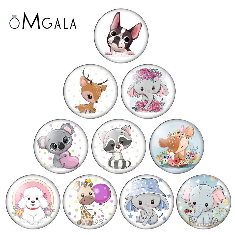 Animal Clip Art Cute Dog Fox Elepant 12mm/14mm/16mm/18mm/20mm/25mm Round Photo Glass Cabochon Demo Flat Back Making Findings