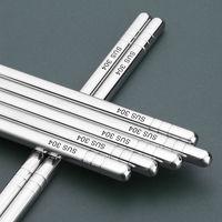 Palillos antideslizantes de acero inoxidable para comida, utensilio de cocina de Metal reutilizable para Sushi, peso ligero y elegante, Chino