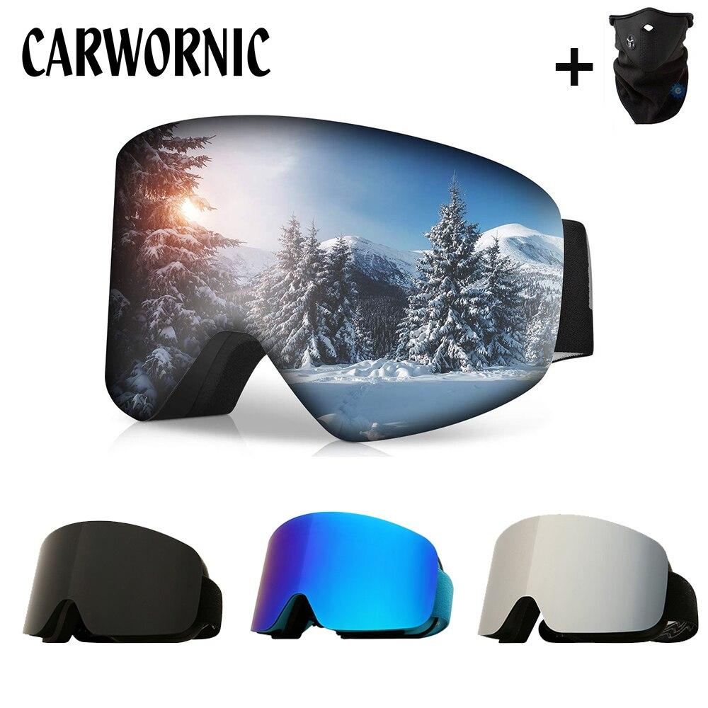 OTG Magnetic Ski Goggles Men Women Snowboard Goggles For Skiing UV400 Snow Skiing Glasses Double Anti-fog Ski Mask Skiing Eyewea