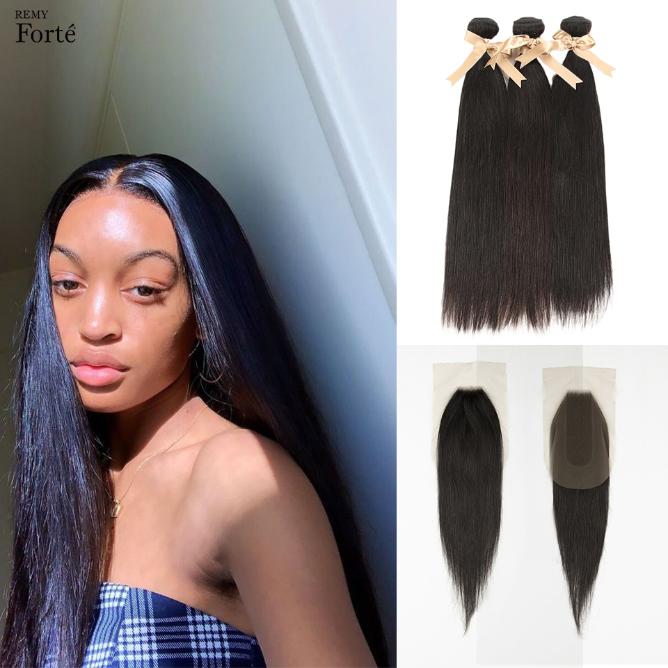 Remy Forte Human Hair Bundles With Closure Brazilian Hair Weave Straight 3 Bundles With Closure Straight Remy Hair Extension