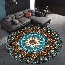 Ковер кораллового бархата компьютерный стул напольный коврик Мандала Печатный круглый ковер для детей спальня Игровая палатка коврик круглый синий
