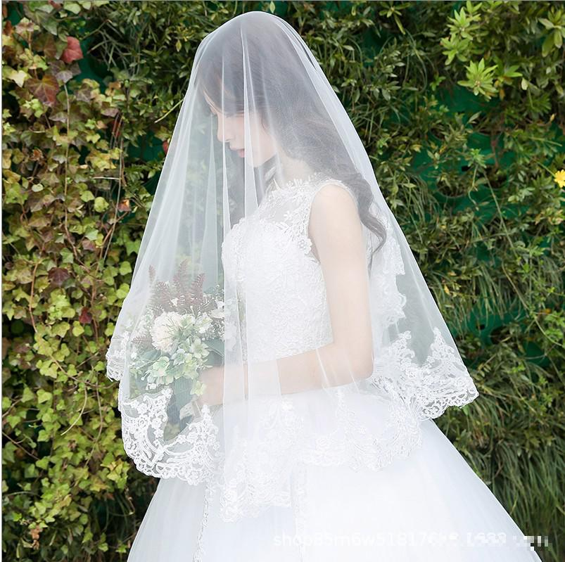 2019 New Off White Lace Soft Mesh One-layer Bridal Veil Classic Appliqued Lace Edge Cathedral Veil With Long Train Wedding Veil