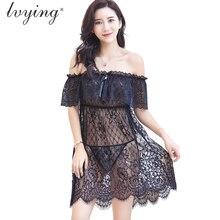 Sexy Lace Women Pyjamas Plus size Night Dress Silk Nightgown Female Lingerie  Sleepwear Transparents Girls Nightwear Nightie