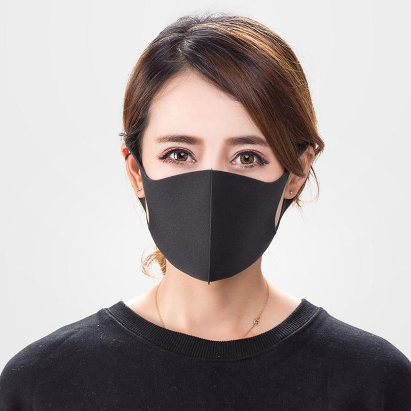 1pc Black Breathable Face Mask Unisex Dust-proof Anti Pollution Sponge Masks Reusable Washable Windproof Warm Shield Mouth Cover
