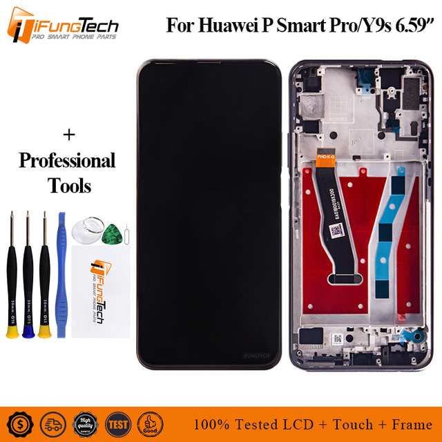 """6.59 """"huawei社1080pスマートproのlcdディスプレイタッチスクリーンデジタイザアセンブリpスマートプロ2019フレームとlcd"""