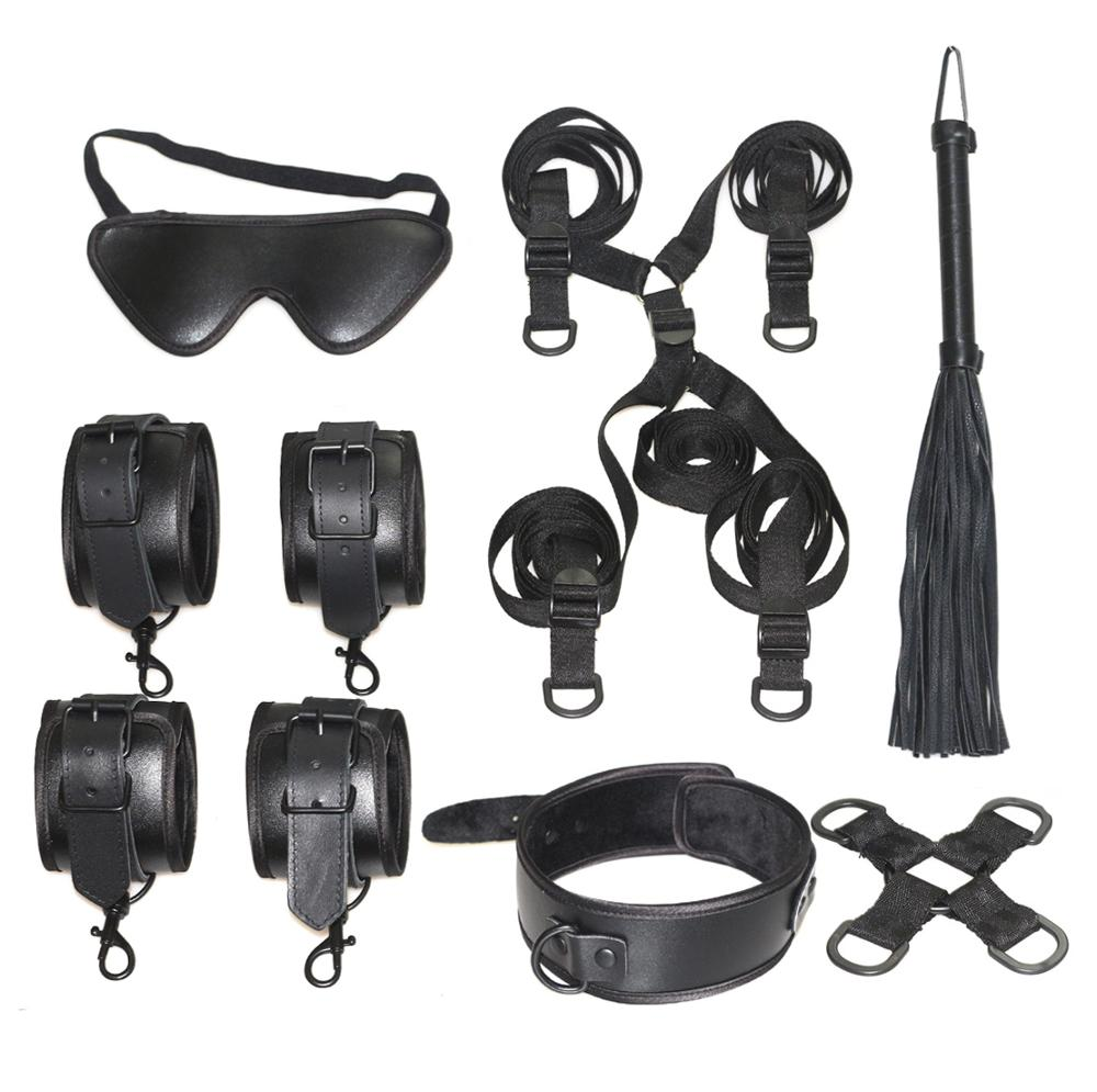 Under Bed Restraint Bondage Fetish Slave Handcuffs & Ankle Cuffs BDSM Bondage Eye Mask Whip Sex Toys For Woman  Adult Erotic Toy