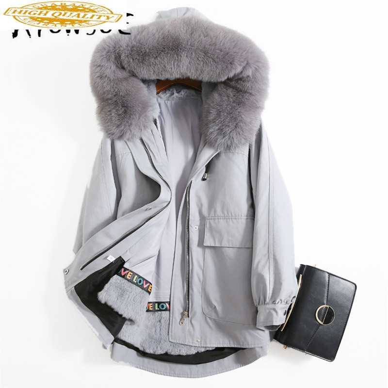 Real Fur Coat Women Rex Rabbit Fur Coat Winter Coat Women Clothes 2019 Fox Fur Collar Hooded Warm Parka Abrigo Mujer P1001YY1870