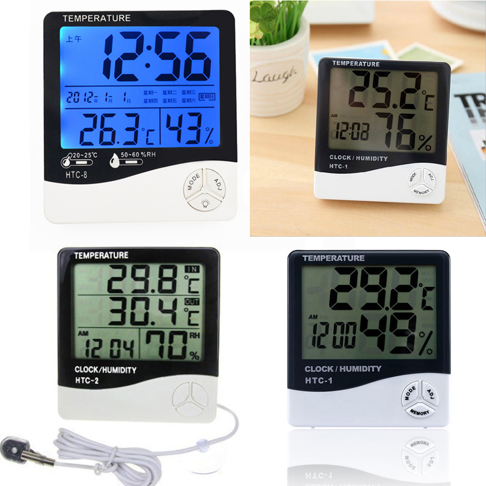 Digital Thermometer Hygrometer Indoor Outdoor With LCD Display Temperature Humidity Meter Weather Station Alarm Clock
