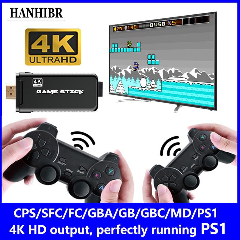 Hanhibr U8 4K HD Wireless video game Console 32GB 3000 Games CPS PS1 Mini Retro game console Double Controller Children s gift