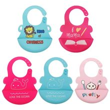 Baby Silicone Lunch Bibs Adjustable Food Catcher Pocket Cartoon Pattern Infant Feeding Saliva Towel