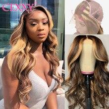 Cexxy destaque ombre peruca de cabelo em linha reta #4/27 frente do laço perucas de cabelo humano para preto feminino remy loira perucas de cabelo humano 150%
