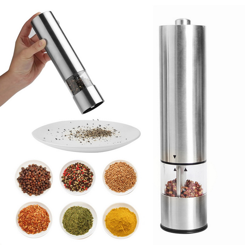 stylish modern design Electric salt or pepper grinder with light battery operated automatic grinder frosted plastic easy grip