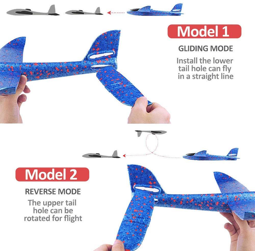 Jouet d'avion de LED de jet de main de mousse, modèle d'avions d'inertie de planeur de Mode de vol de 48cm LED, avions d'avion pour le Sport en plein air d'enfants 5