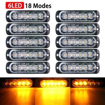 10 sztuk 12 V 24 V samochód światło do ciężarówki 6-LED ostrzeżenie o zagrożeniu lampa błyskowa światło stroboskopowe ultra-jasne światła przyczepy samochodów LED światła SUV światło do ciężarówki tanie i dobre opinie Inne LED Trailer Tail Lights 6pcs bulb High Quality Aluminum alloy + PC Lens truck light trailer lights Trailer Truck Lights