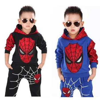 children costume boys clothing sets- Spiderman hoodies and sweatshirt  1