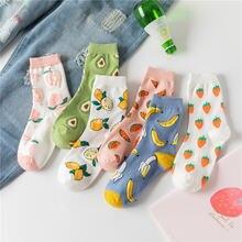 Летние женские носки youyijia из хлопка с мультяшными фруктами
